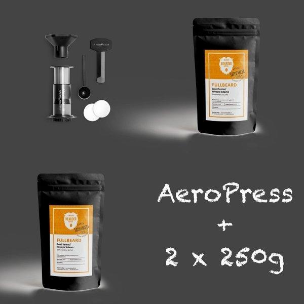 Blend kaw równikowych+Aeropress 250 ml z pokrowcem