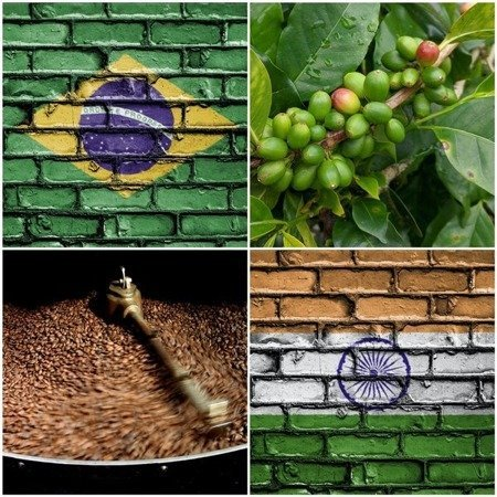 Kawa ziarnista Brasil Santos Cerrado/India Robusta Cherry AA Ducktail